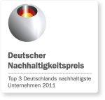 """Auszeichnung Deutscher Nachhaligkeitspreis 2011: TOP 3 in der Kategorie """"Deutschlands nachhaltigste Unternehmen"""""""